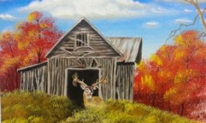 Abandoned Barn with wandering deer oil painting at Parm